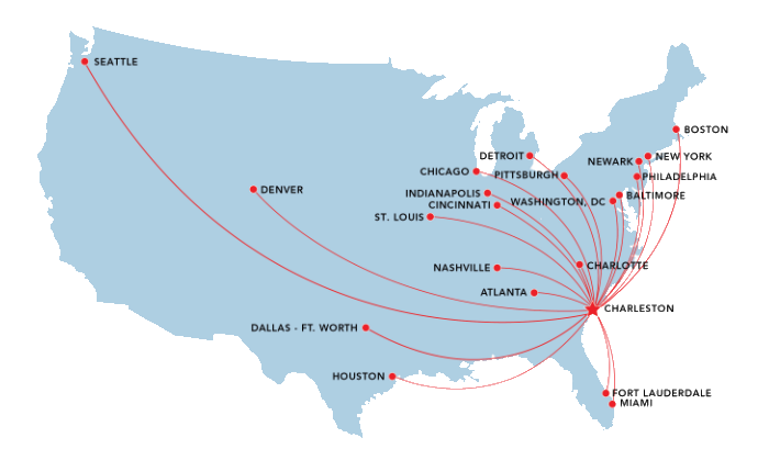 Airport Transportation List Of Flights Airlines Flying To - Charleston sc on us map